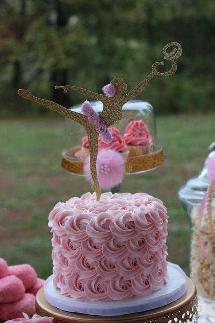 Festa Bailarina bolo decorado com glacê