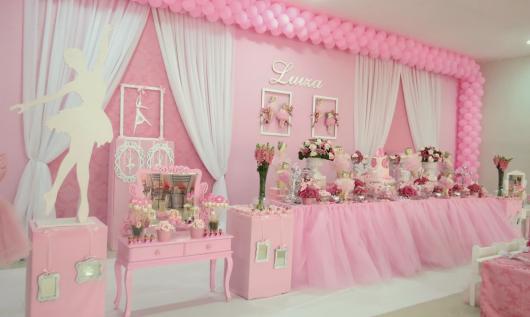 Festa Bailarina rosa luxuosa