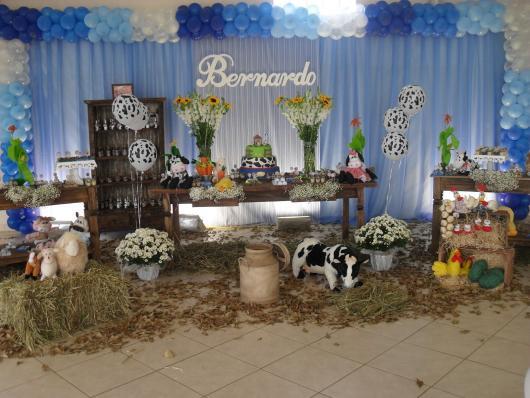Festa Fazendinha azul rústica