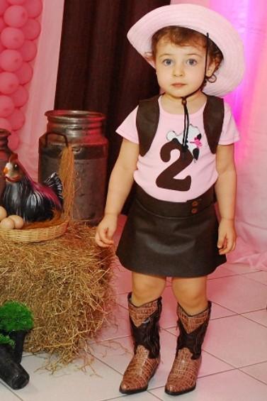 Festa Fazendinha rosa roupa para aniversariante
