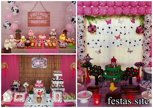 Festa Fazendinha modelos de decoração rosa