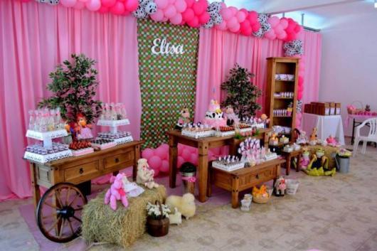 Festa Fazendinha rosa com cortina rosa e bexigas