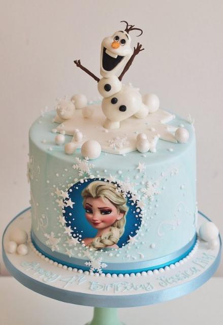 Festa Frozen bolo de pasta americana com papel arroz