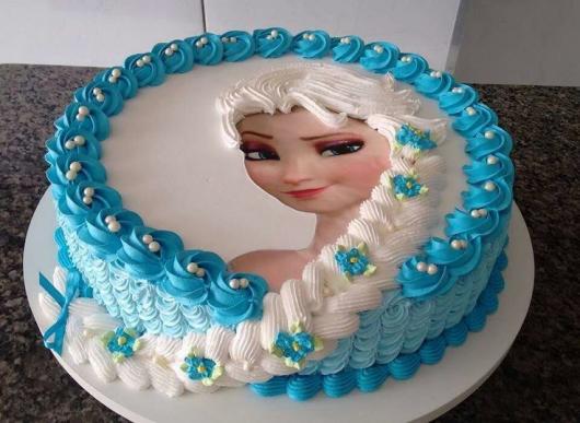 Festa Frozen bolo de chantilly com papel de arroz da Frozen