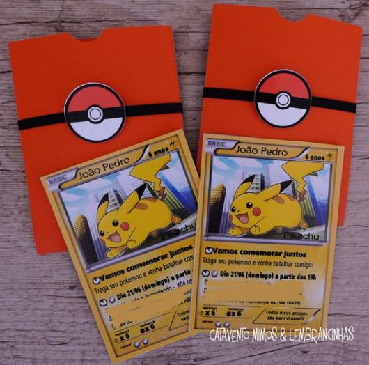convite para festa Pokémon card