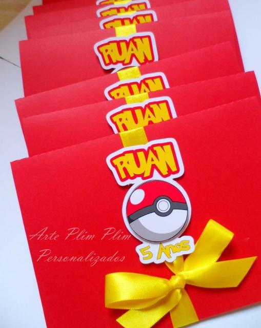 convite para festa Pokémon com laço