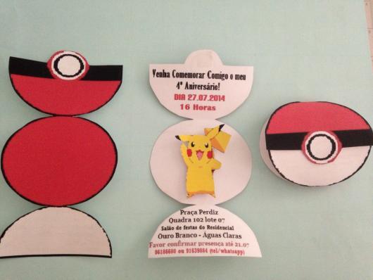 convite para festa Pokémon pokebola