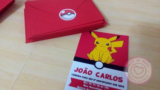 convite para festa Pokémon pikachu