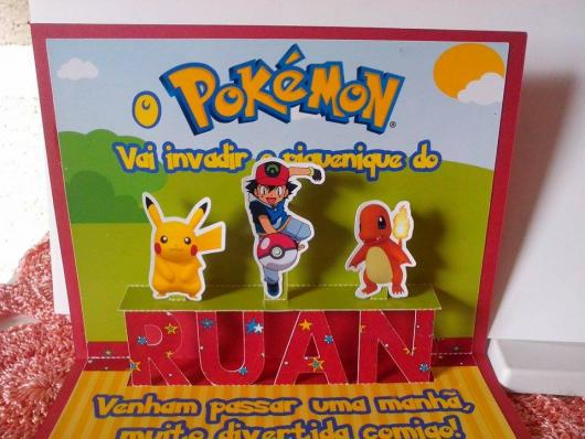 convite para festa Pokémon auto relevo