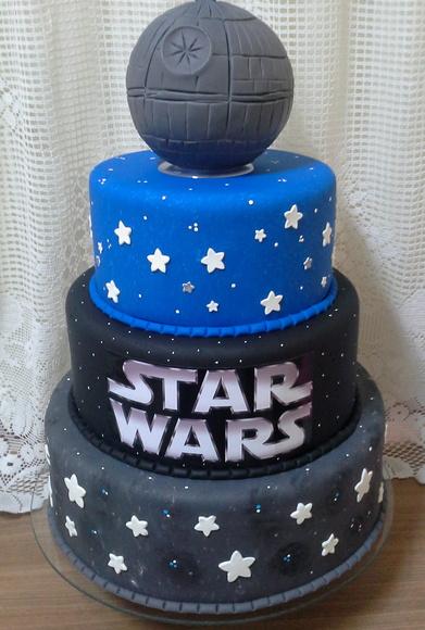 Festa Star Wars bolo fake de biscuit