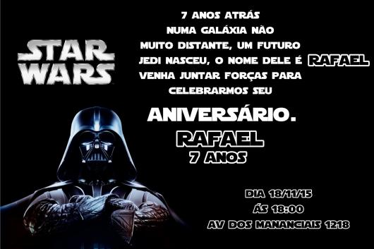 Festa Star Wars convite impresso