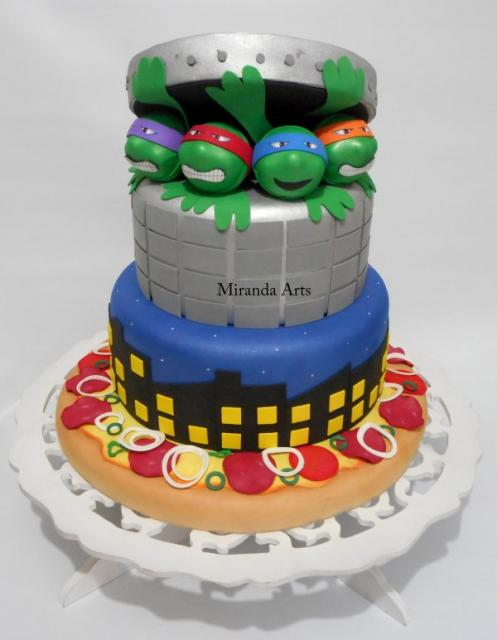 Festa Tartarugas Ninja bolo fake de biscuit