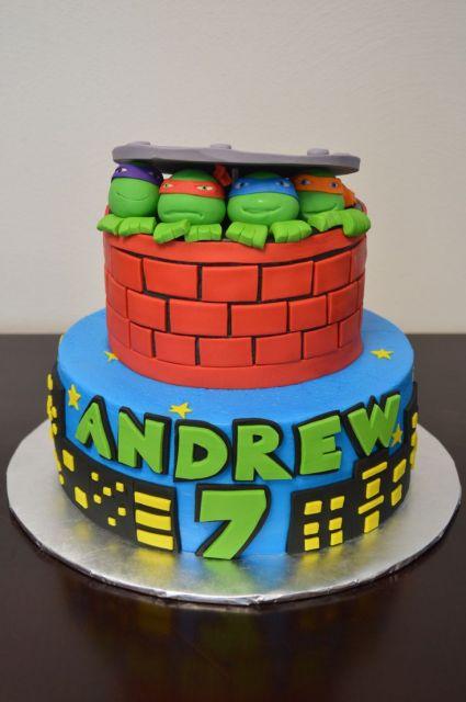 Festa Tartarugas Ninja bolo de pasta americana