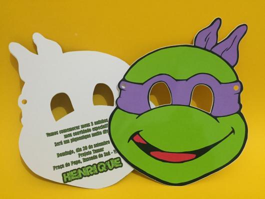 Festa Tartarugas Ninja convite máscara