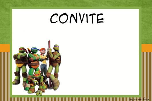 Festa Tartarugas Ninja convite cartão