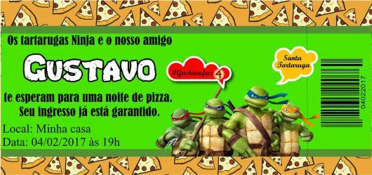 Festa Tartarugas Ninja convite ingresso