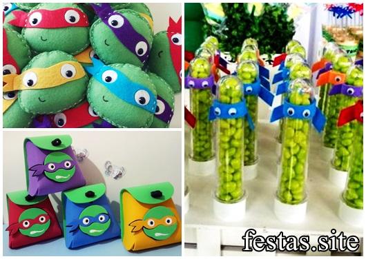 Festa Tartarugas Ninja modelos de lembrancinha tubete feltro e EVA