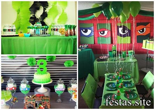 Festa Tartarugas Ninja decoração simples em casa