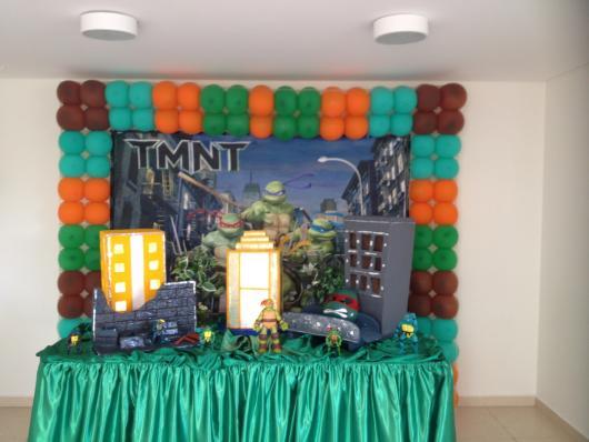 Festa Tartarugas Ninja com tolha de mesa verde
