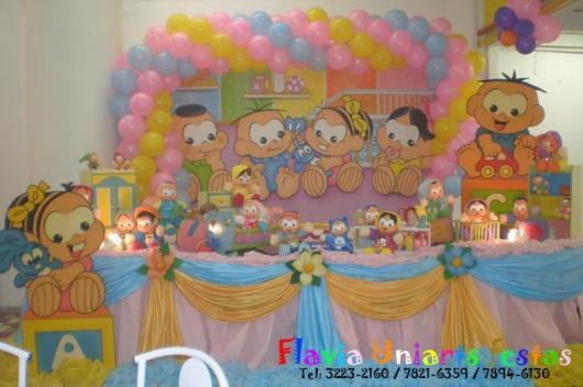 Festa Turma da Mônica baby amarela azul e rosa com painél personalizado
