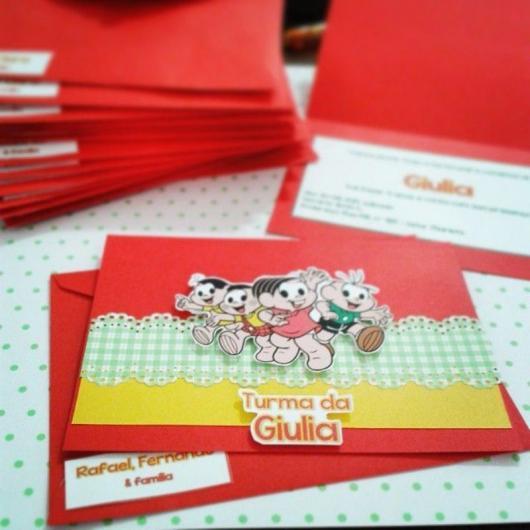 Festa Turma da Mônica convite scrapbook com cartão vermelho