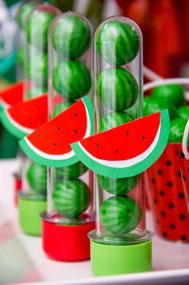 Festa Turma da Mônica tubete personalizado com aplique de melancia