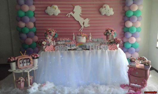Festa Unicórnio nuvem painél rosa
