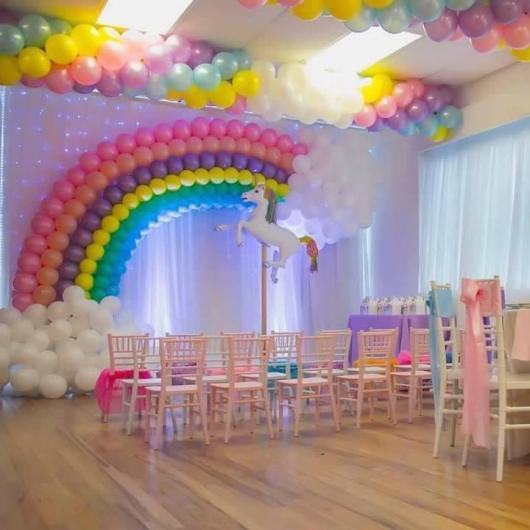 Festa Unicórnio arco-íris de bexigas