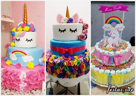 Festa Unicórnio modelos de bolo