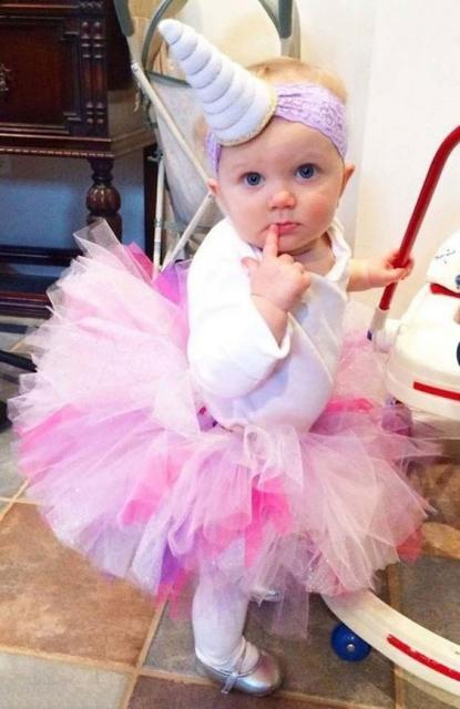 Festa Unicórnio vestido com tule e tiara para criança de 1 ano