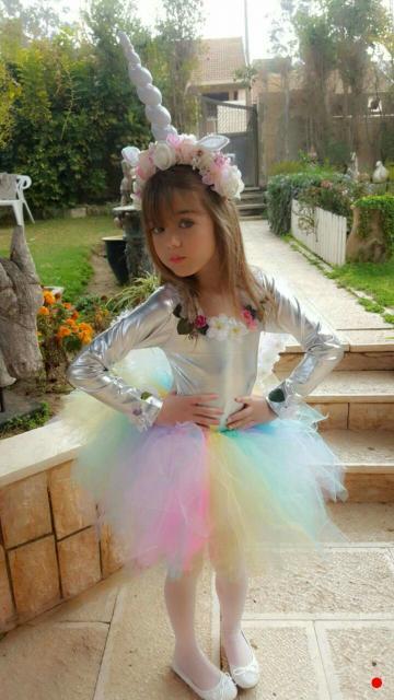 Festa Unicórnio vestido com tule infantil