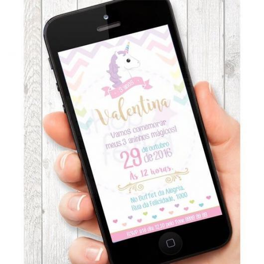 Festa Unicórnio convite digital