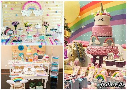 Festa Unicórnio modelos arco-íris