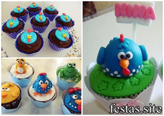 cupcake galinha pintadinha azul 3D