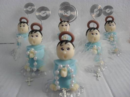 Lembrancinhas de Biscuit para batizado anjinho com terço