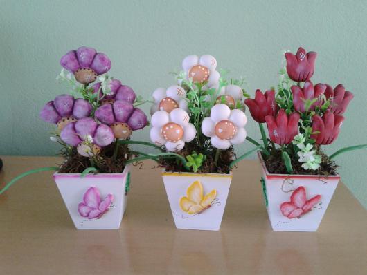 Lembrancinhas de Biscuit dia das mães vaso de flor