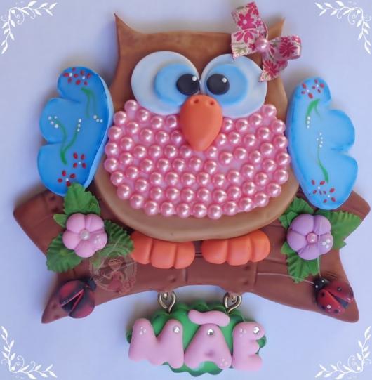 Lembrancinhas de Biscuit plaquinha de corujinha dia das mães