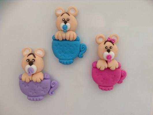 Lembrancinhas de Biscuit chá de fraldas imã de geladeira ursinho