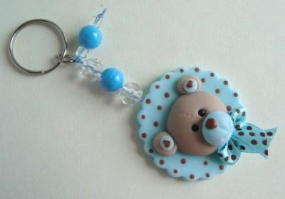 Lembrancinhas de Biscuit chaveiro de ursinho azul