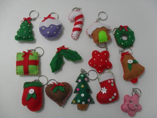 Lembrancinhas de Feltro para Natal chaveirinhos
