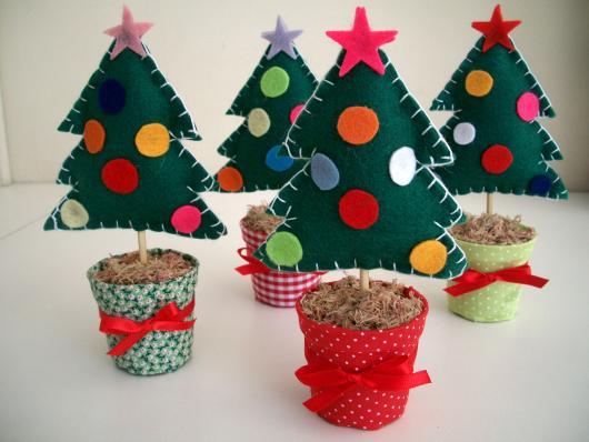 Lembrancinhas de Feltro para o Natal mini árvore