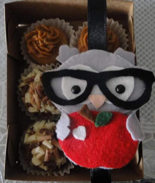 Lembrancinhas de Feltro para dia dos professores mini coruja de óculos