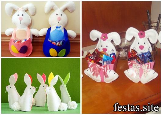 Lembrancinhas de Feltro para Páscoa mini coelhos