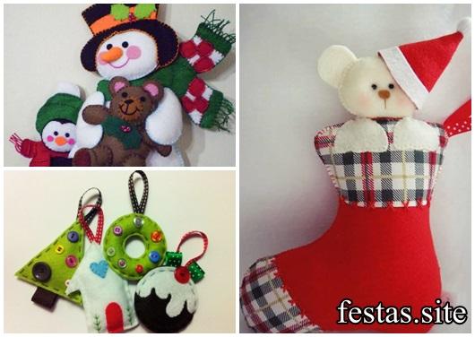 Lembrancinhas de Feltro para o Natal boneco de neve meia com ursinho e chaveirinhos