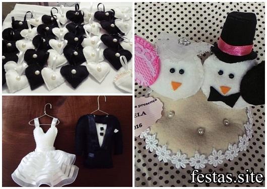 Lembrancinhas de Feltro para dar no casamento mini vestido, mini terno e corações preto e branco
