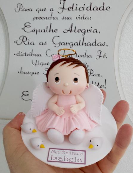 Lembrancinhas para padrinhos de batismo anjinha rosa