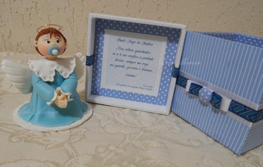 Lembrancinhas para padrinhos de batismo anjinho azul e branco