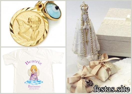 Lembrancinhas para padrinhos de batismo medalinha santa e camiseta