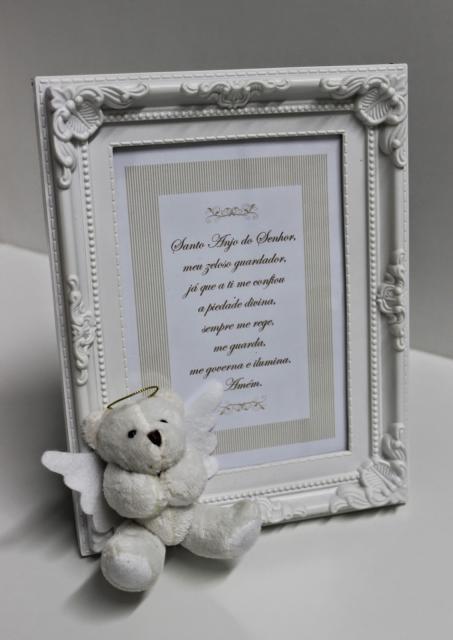 Lembrancinhas para padrinhos de batismo quadro de ursinho