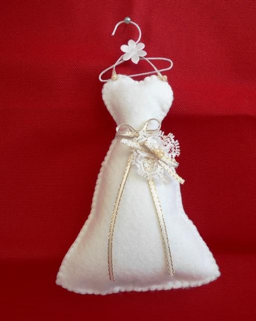 Lembrancinhas para Padrinhos de Casamento vestido de feltro